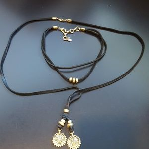 Lucky Brand 3 Strand Leather Gold  Necklace